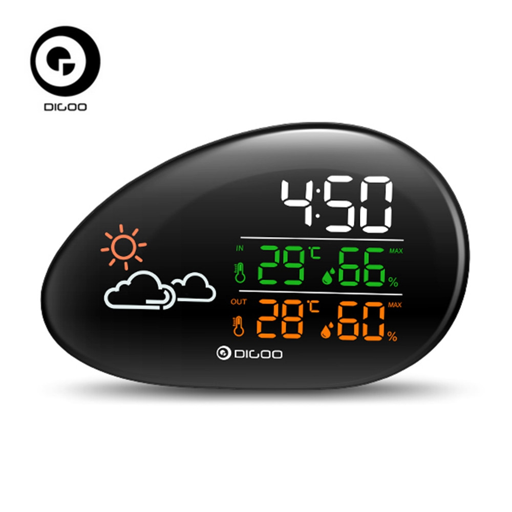 DIGOO DG-THS01 Stone Clock Weather Station Weather Forecast Thermometer Hygrometer Temperature Humidity Clock Snooze Function weather report weather report heavy weather 180 gr