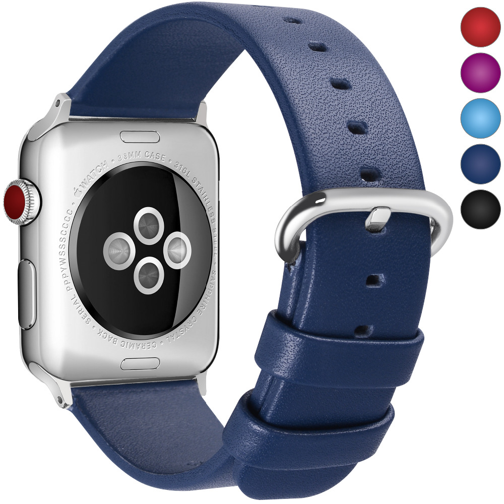 Genuine leather strap band with Stainless Metal clasp watch accessory bracelet  for Apple Watch  38mm 42mm series 1 & 2
