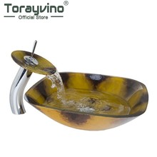 Torayvino Luxury Hand painting Basin Vessel Sink Tempered Glass Basin Sink Bowl Faucet Set with Chrome Pop up Drain(China)