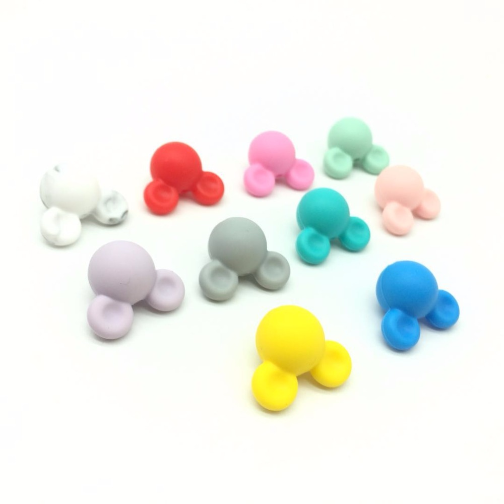 10 PCS Silicone Mickey Beads Baby Teething Beads Safe Food Grade Nursing Chewable Round Mouse Head Silicone Teething Loose Beads