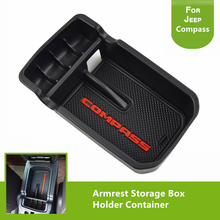 For Jeep Compass 2017 2018 Armrest Storage Box Holder Container Black Auto Parts Interior Accessories