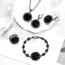 Wholesale Vintage Black Jewelry Set Fashion Women Jewelry Set Antique Silver Crystal Round Stone Pendant Necklace Sets 4Pcs(China)