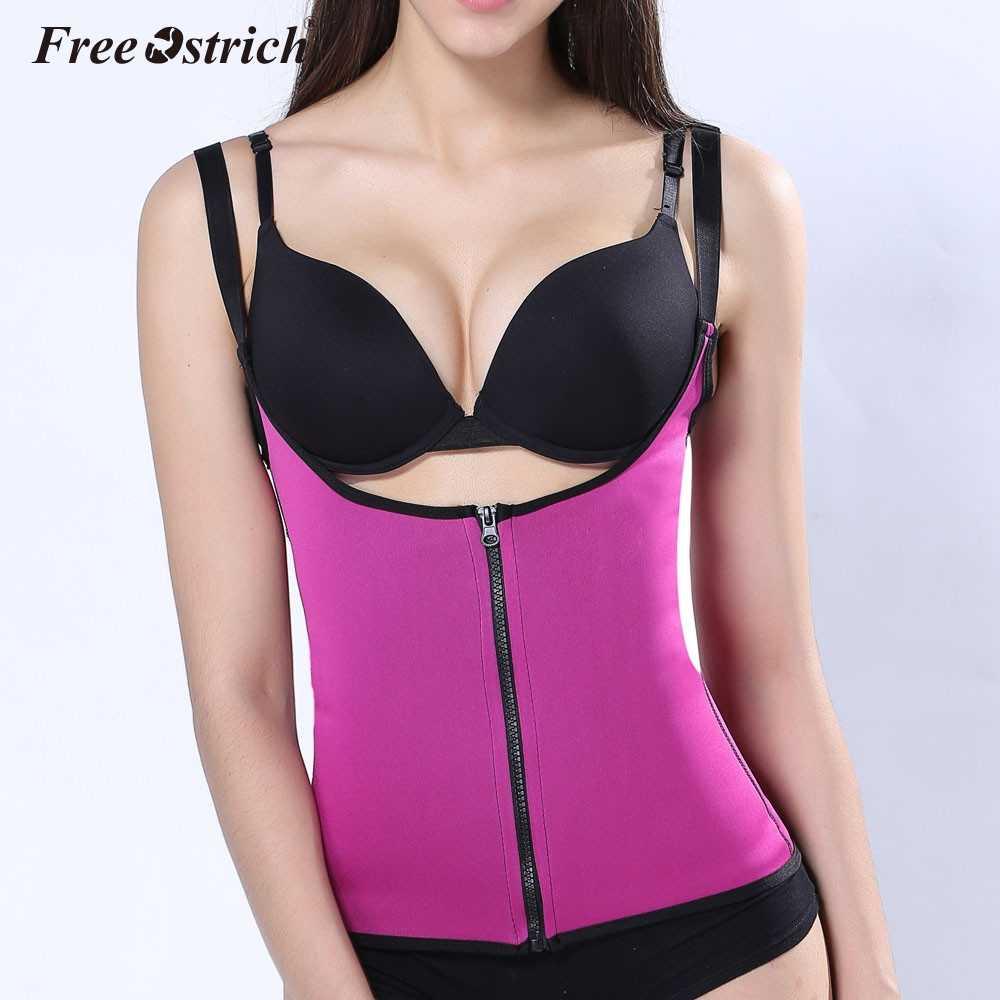 b53dc302e84 ... Free Ostrich Strap Waist Trainer Vest Corset Women Zipper Hook Body  Shaper Waist Cincher Tummy Control ...