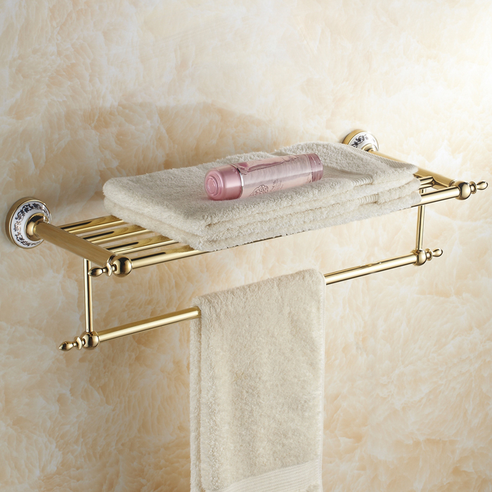 Gold Antique Porcelain Bathroom Shelf European Towel Rack Suit ...