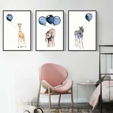 Kids Room Wall Painting Nordic Pictures Blue Balloon Elephant Girafa Cartoon Animal Giraffe Zebra Canvas Print Art Unframed