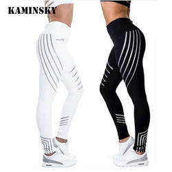 Kaminsky новый Женские легинсы для занятий фитнесом СВЕТ Высокие эластичные Блестящие Леггинсы тренировки Slim Fit для женщин брюки для девочек