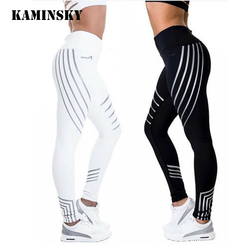 Kaminsky New Woman Fitness Leggings Light High Elastic Shine Leggins Workout Slim Fit Women Pants Black