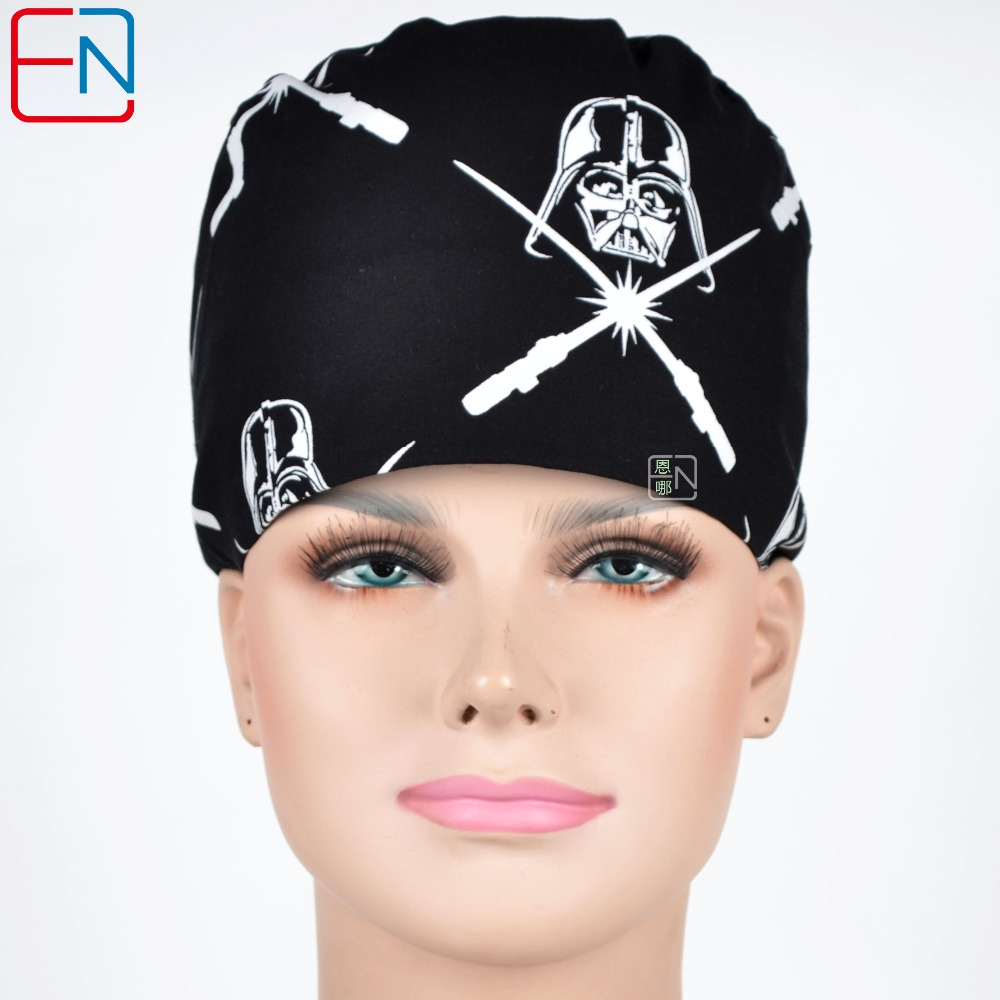 Hennar Medical Caps For Men And Women Black Print Cotton Hospital Work Hat Masks Nurse Cap Adjustable With Sweatband Unisex