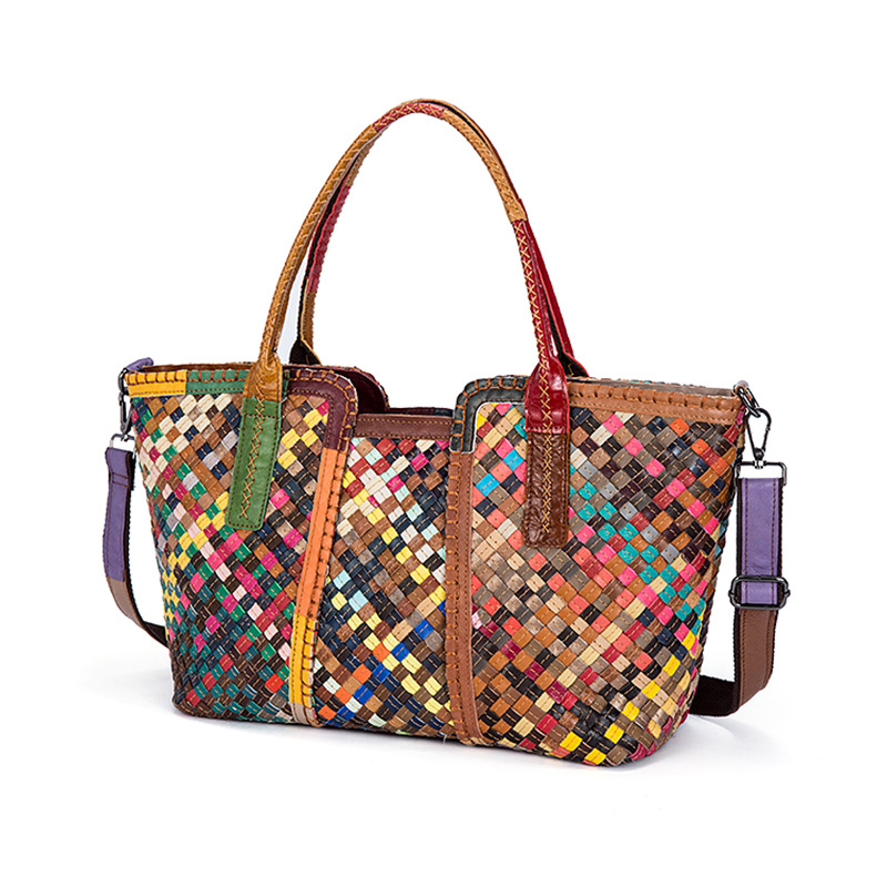 2019 New Fashion multicolour Knitting Genuine Cow Leather Women Handbag Ladies Lether Shoulder Bags Casual Large Capacity Tote2019 New Fashion multicolour Knitting Genuine Cow Leather Women Handbag Ladies Lether Shoulder Bags Casual Large Capacity Tote