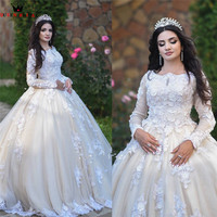 Custom Made Empire Long Sleeve Fluffy Tulle Lace Flowers Crystal Luxury Wedding Dresses Wedding Gowns Vestido De Noiva DA41