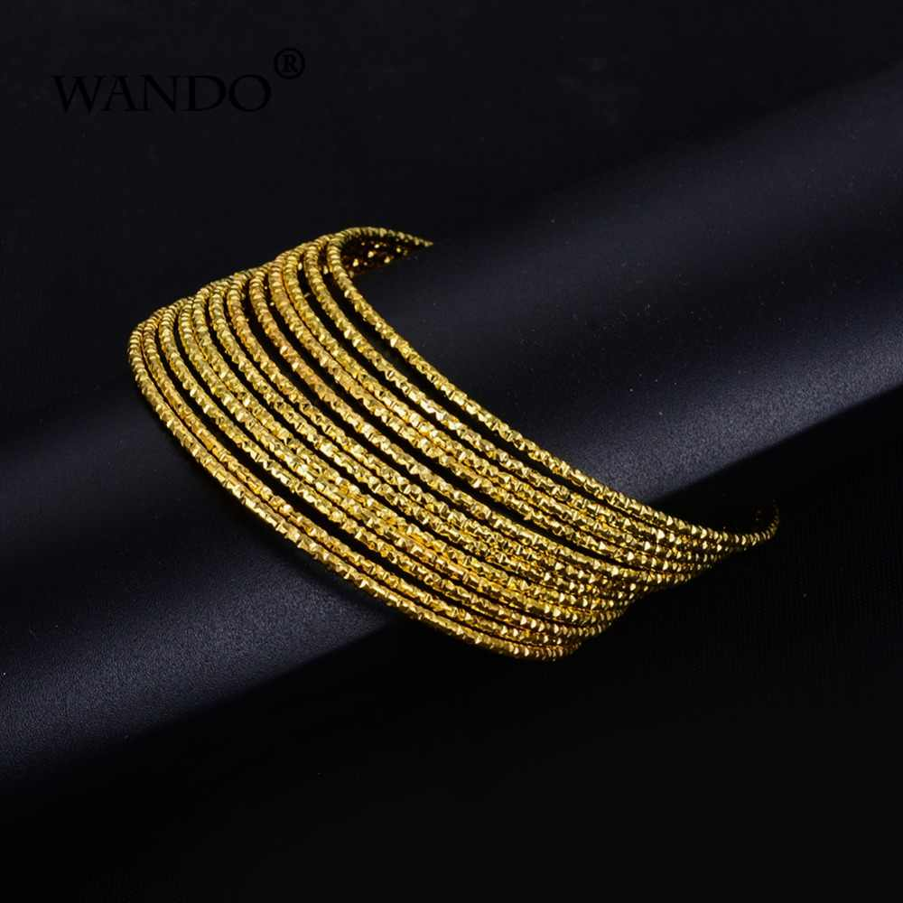 WANDO 12pcs/lot fine Punk Style Dubai Gold Jewelry Gold Color For Ethiopian baby Bangles & Bracelet Ethiopian girl Jewelry wb140