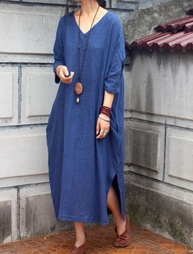Дизайн sparse текстура хлопок неправильное лоскутное платье женская Свободная Женская одежда Удобная 19002-1 - Цвет: old blue