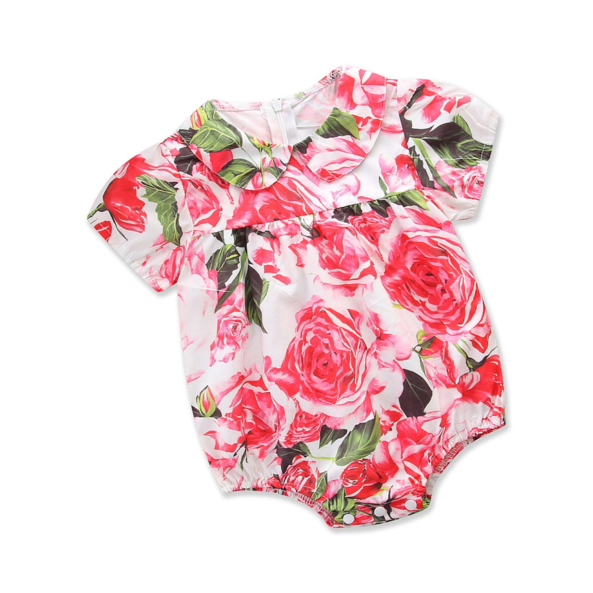 Kids Baby Girl Romper Toddler Girls Clothing Floral Print Clothes Fashion Jumpsuit Newborn Girls Cotton Jumper Children Outfits