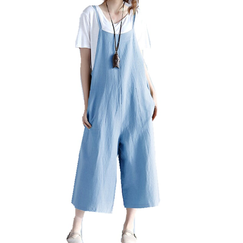 Women Overalls Casual Cotton Linen   Pant   Oversized Loose Long Trousers Dungarees   Wide     Leg     Pants   Rompers Strap Women   Pants