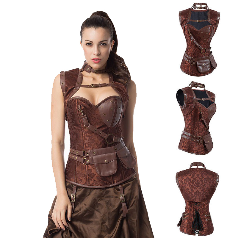 Waist slimming Latex Sexy Steel Boned Brown Vintage Steampunk   Corset   Corselet Top Gothic Overbust   Bustiers   &   Corsets   For Women