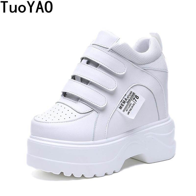 2019 New Women Platform High Heels PU Leather Breathable Wedge Casual Shoes 12 CM Spring Thick Sole Sneakers Woman Outdoor Shoes