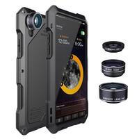 R JUST Shockproof Luxury Heavy Duty Case for iPhone X 10 7 8 Plus 6 6S Plus 5 5S SE Case Metal Aluminum Armor phone Case+ Lens
