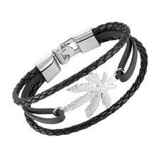 Мужской кожаный браслет janeyacy вязаный ручной работы в стиле