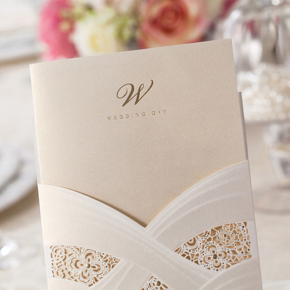 100pcs/lot Vertical Laser Cut Wedding Invitation CardS with White ...