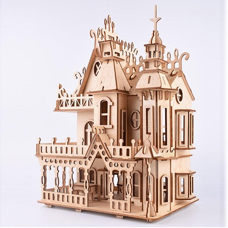 Découpe Laser Puzzle 3D en bois modèle de Puzzle rêve Villa maison Puzzle ensemble Collection souvenir Puzzles jouets pour enfants enfants