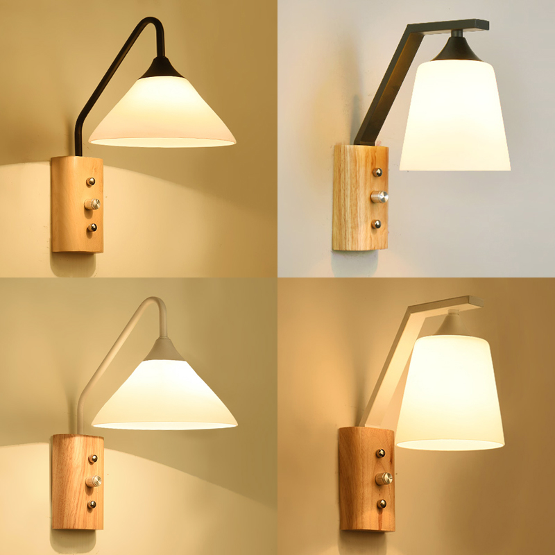 Wooden led wall lamps modern creative living room bedroom bedside wall lamp aisle corridor staircase wall sconce bathroom light bedside wooden wall lamp wood glass aisle wall lights lighting for living room modern wall sconce lights aplique de la pared