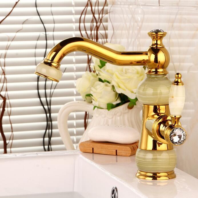 envo libre de latn cuenca del grifo mezclador torneira con mrmolsola manija de oro acabado grifo del fregadero del lavabo me