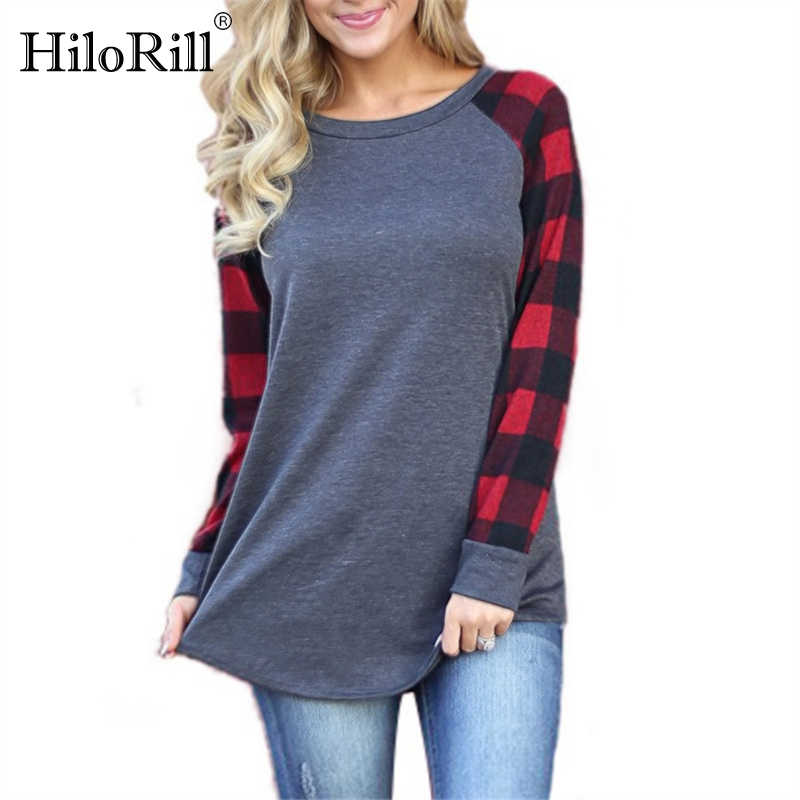 Blusas Femininas 2019 Mode Vrouwen Blouses Plaid Print Lange Mouwen Blouse Shirt Casual O-hals Losse Tops Tees Plus Size 5XL