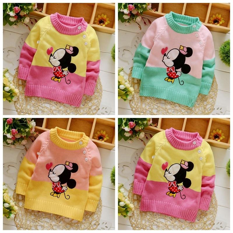 2017 new baby boys girls sweater autumn winter brand cartoon animal 3D cardiganMickey Minnie sweater clothing
