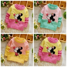 2017 new baby boys girls sweater autumn winter brand cartoon animal 3D cardiganMickey Minnie  sweater clothing outwear