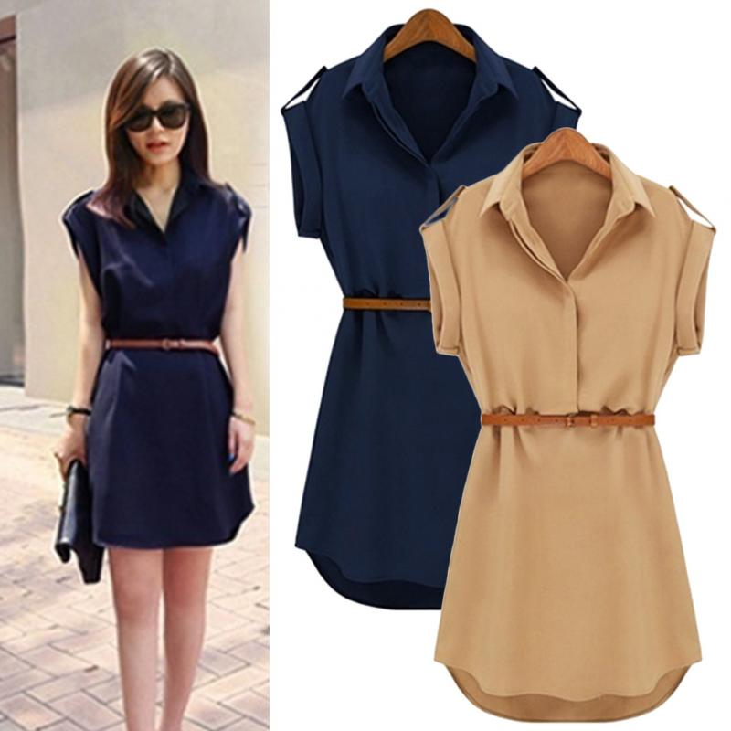 2018 Women Summer Mini Dress Shirt V-Neck Short Solid Plus Size Chiffon Casual Office With Belt!