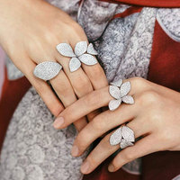GODKI Fashion Luxury AAA Cubic Zirconia Brand New Engagement Adjustable Ring For Women Glitter Elegant Hand