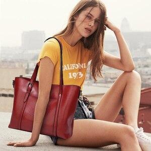 Image 5 - 럭셔리 여성 가방 오일 왁 스 가죽 어깨 가방 지갑 주머니 레이디 손 가방 여성 메신저 가방 큰 토트 Bolso Feminina