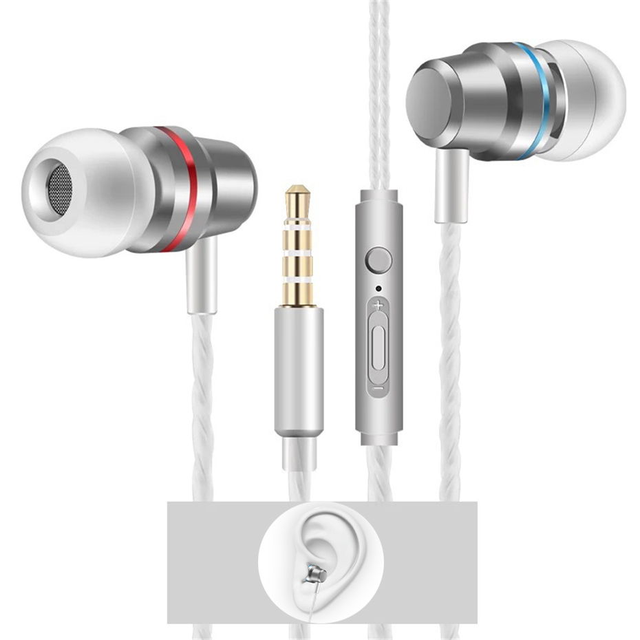 In ear Earphones Heavy Bass with Mic 3.5mm Audio Music Earphone for xiaomi Huawei Samsung Mp3 Mp4 Gym Workout Sport Headset image