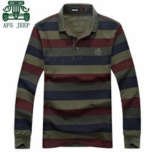 AFS JEEP Autumn Thick Long Sleeve Wide Striped Resist Wear font b POLO b font shirt