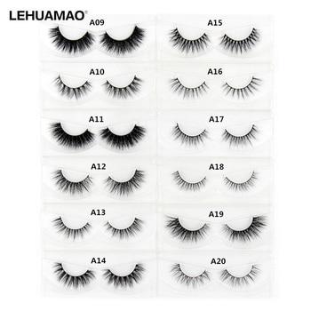LEHUAMAO 3D Mink Eyelash Fluffy Cross Thick Natural Fake Eyelashes Lashes Dramatic Makeup Eye Lashes Handmade False Eyelash 1