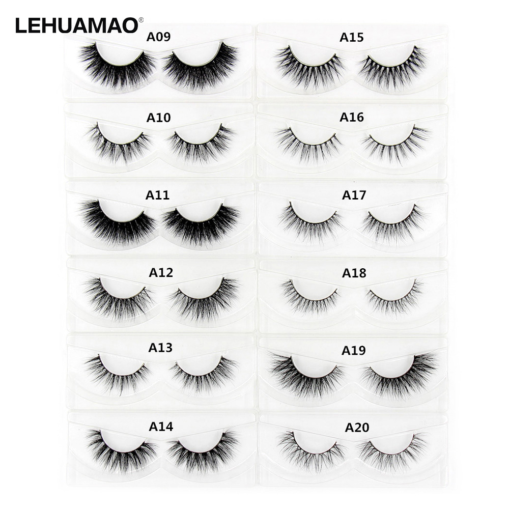 b6a2f87c8d6 LEHUAMAO 3D Mink Eyelash Fluffy Cross Thick Natural Fake Eyelashes Lashes  Dramatic Makeup Eye Lashes Handmade