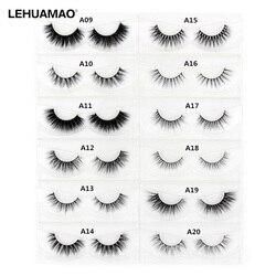 LEHUAMAO 3D Mink Eyelash Fluffy Cross Thick Natural Fake Eyelashes Lashes Dramatic Makeup Eye Lashes Handmade False Eyelash