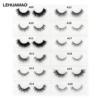 LEHUAMAO 3D Mink Eyelash Fluffy Cross Thick Natural Fake Eyelashes Lashes Dramatic Makeup Eye Lashes Handmade False Eyelash