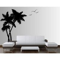 Palm Cocunut Tree Wall Decal Seagull Birds Nursery Ocean Room Nautical 3 trees H72in