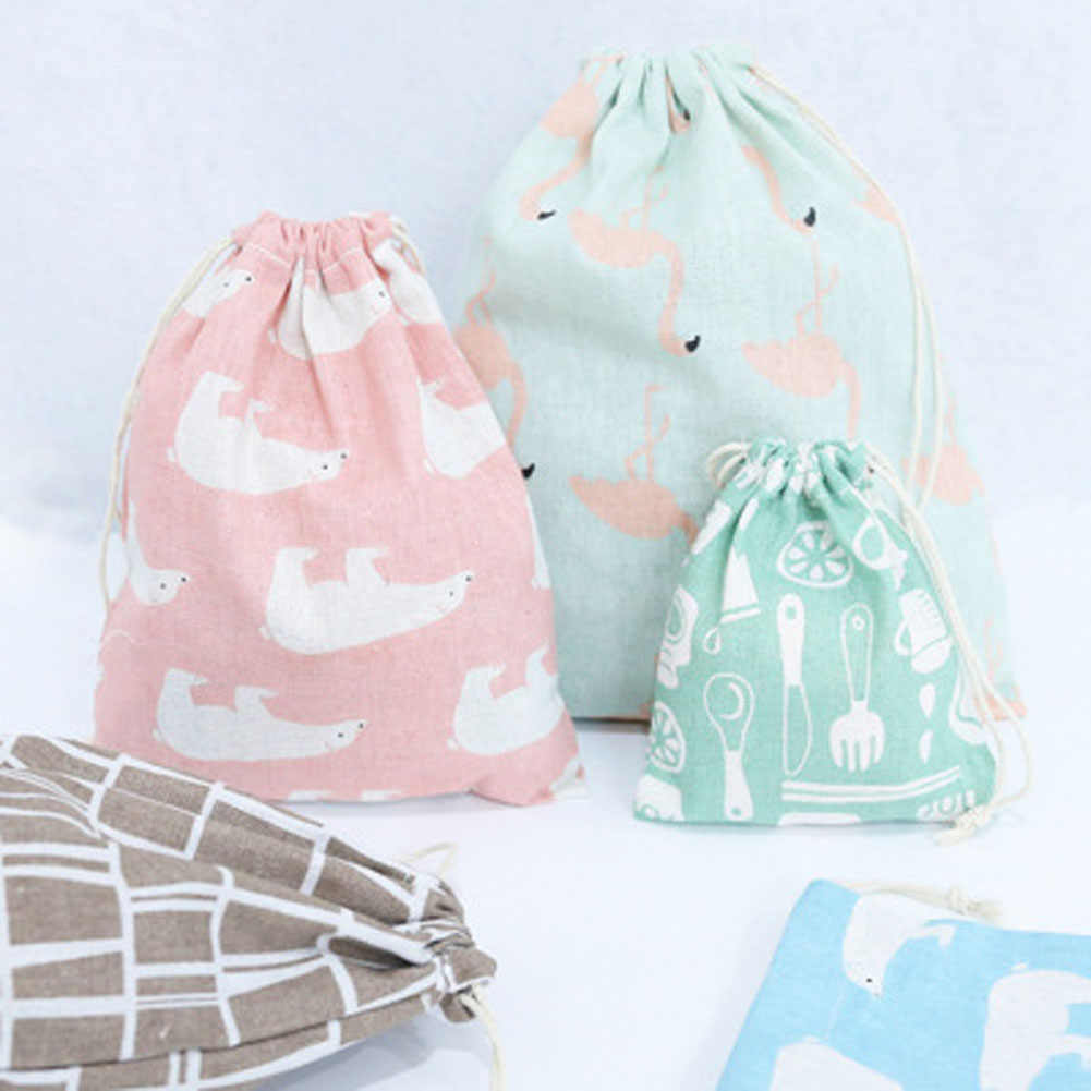 Cotton Linen Debris Cloth Drawstring Bag Dormitory Drawstring Storage Bag Traveling Underwear Storage Bag Organizer Pouch