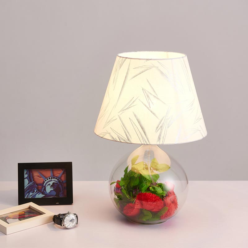 Modern Clear Glass Table Lamp Fabric Lampshade Office Living Bedroom Bedside Wedding Decor Lights Home Lighting E27 110 220V