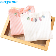 Baby Girl Long Sleeve T Shirts Children Girls Cotton Casual Leaves Tee Shirt Fashion Toddler Girls Tops Korean Kids Clothes 2-7 lovely cozy baby girl tops shirt kids child toddler soft cotton fall t shirt tee