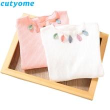 лучшая цена Baby Girl Long Sleeve T Shirts Children Girls Cotton Casual Leaves Tee Shirt Fashion Toddler Girls Tops Korean Kids Clothes 2-7