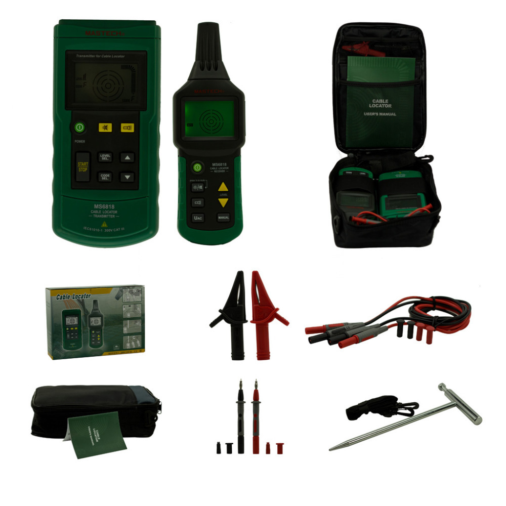 цена на Professional Mastech MS6818 Wire Cable Tracker Metal Pipe Locator Tester Meter 12~400V Detector