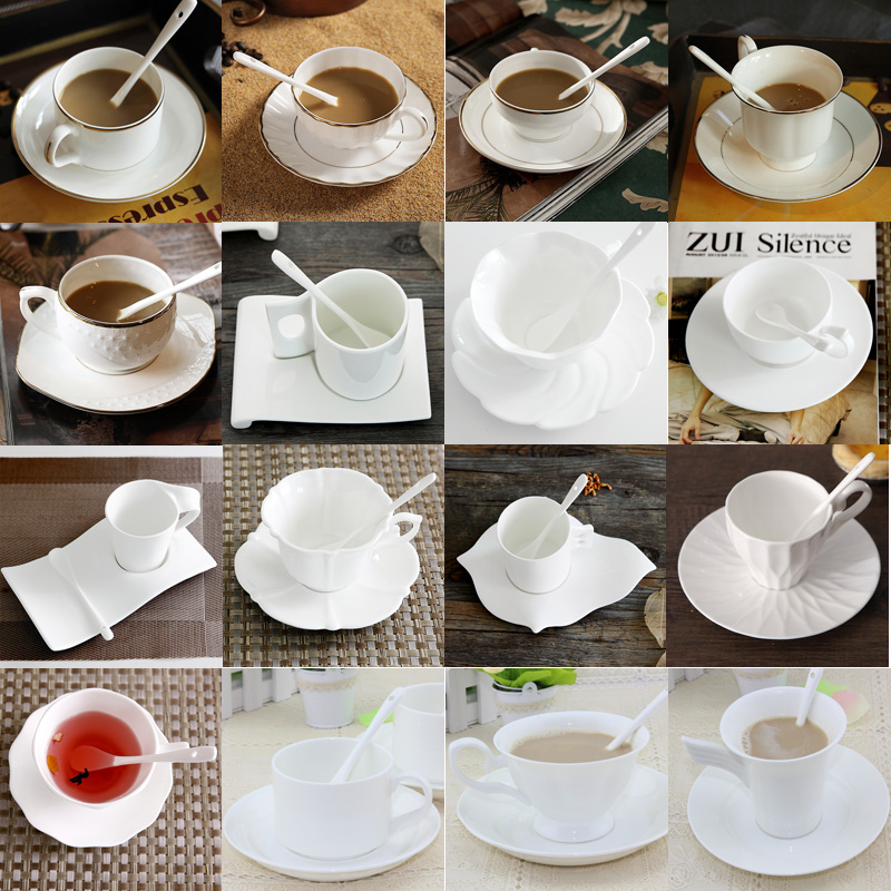 Authentic Bone China European Style Inlaid Gold Coffee Cup Classic Simple Saucer Spoon Sets For Friend Gift