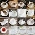 Authentische Knochen China Europäischen Stil Eingelegten Gold Knochen China Kaffee Tasse Klassische Einfache Untertasse Löffel Kaffee Sets Für Freund Geschenk-in Kaffeezubehör-Sets aus Heim und Garten bei