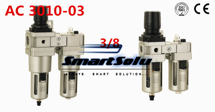 Free ShippingPneumatic FRL Combination air filter pressure regulator and lubricator AC3010-03 3/8inch Manual drain  type pneumatic frl air filter regulator ac2000 1 4 inch air service unit air tac type pressure reducing valve atomized lubricator