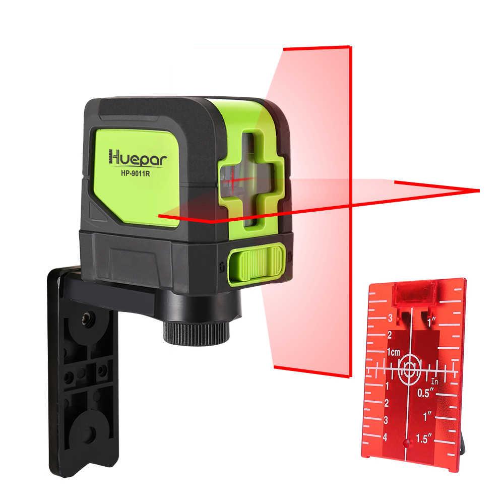 Huepar 2 satır lazer seviye kendini tesviye (4 derece) yeşil kırmızı ışın lazer yatay ve dikey çapraz çizgi manyetik tabanı ile