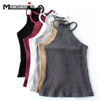 Summer Off Shoulder Knitted Bustier Crop Top Women Round Neck Elastic Tube Tank Tops Knit Beach