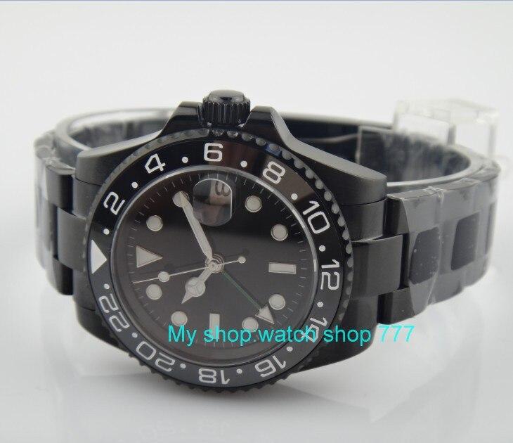 40 ミリメートルパーニス黒 gmt 自動自己風運動機械式時計発光メンズ腕時計 PVD ケースサファイアクリスタル 355  グループ上の 腕時計 からの スポーツウォッチ の中 3